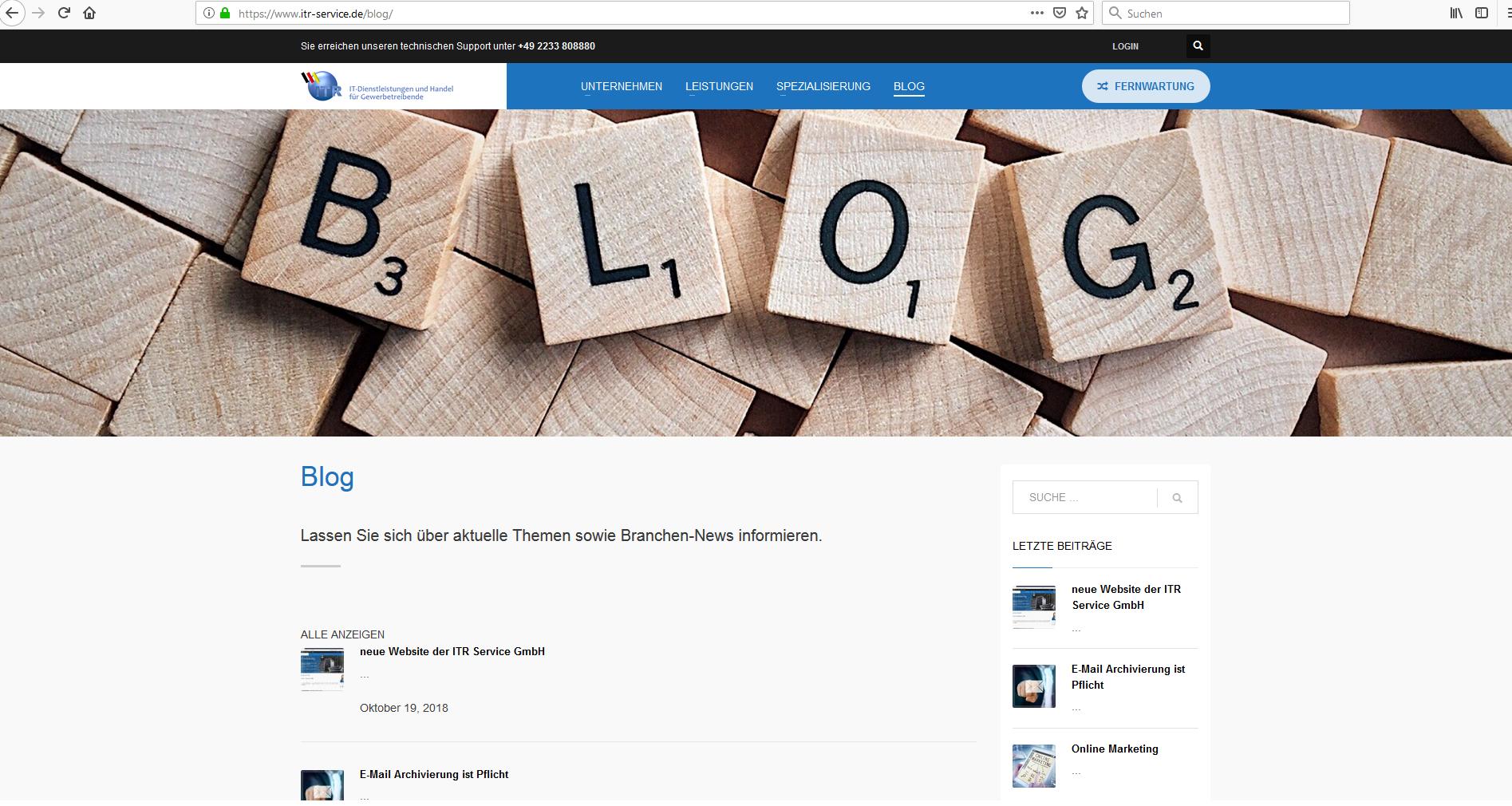 ITR Service GmbH Website - Blog