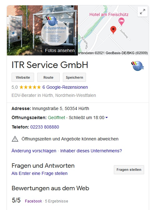 ITR Bewertung bei Google